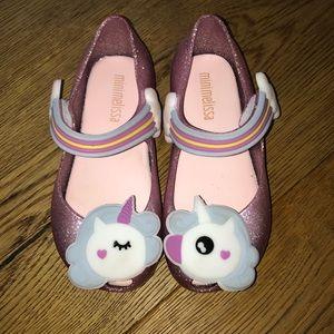 Pink glitter mini Melissa unicorn shoes